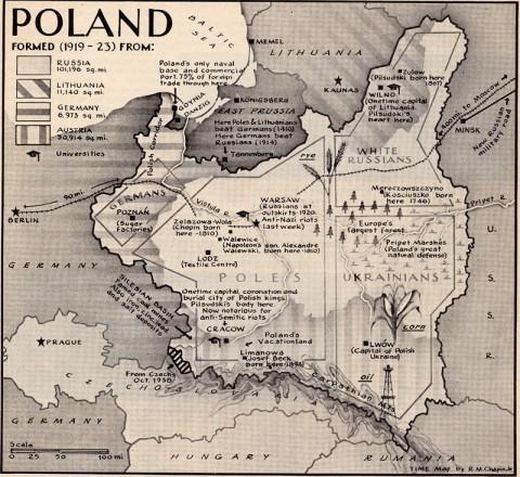 Mapa Polski  1919-23