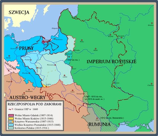 Mapa Polski pod zaborami