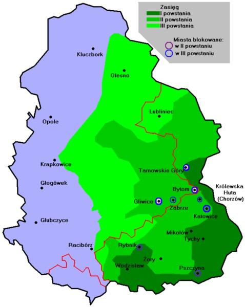 Mapa Górnego Śląska w latch 1919-1921