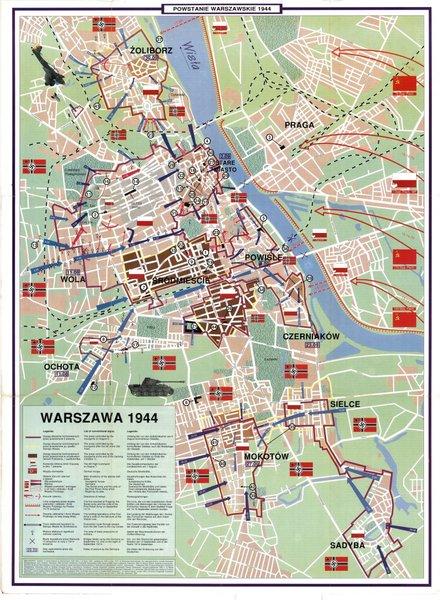 Mapa Powstania Warszawskiego, 1944r.