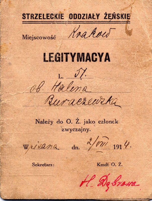 Legitymacja Strzelecka Haliny Buraczewskiej, Kraków, 2 sierpnia 1914 rok