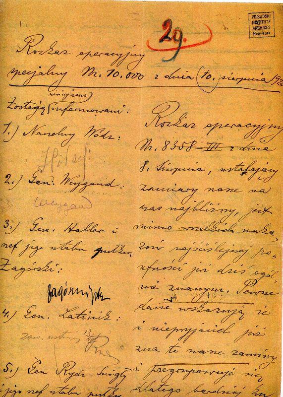 Rozkaz do Bitwy Warszawskiej