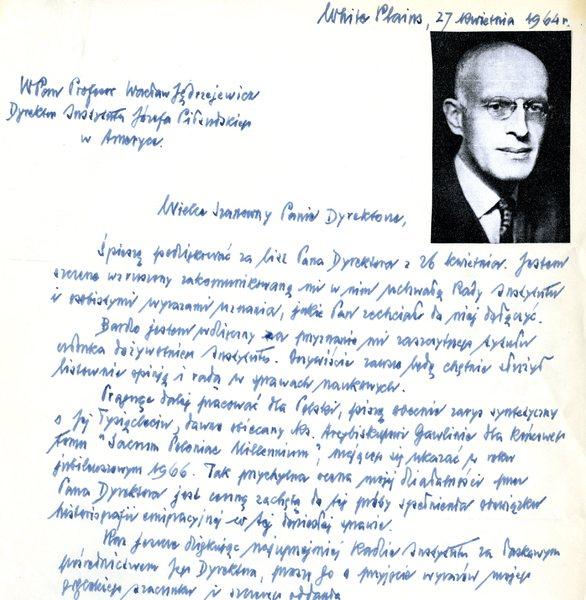 List prof.  Oskara Haleckiego do prof. Wacława Jęderzjewicza