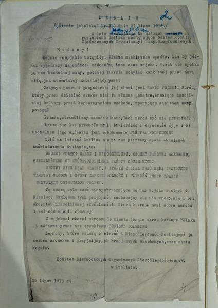 Odezwa 1915 - Legiony Polskie