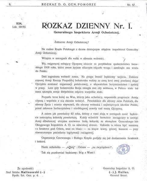 Rozkaz Dzienny Generalnego Inspektora Armii Ochotniczej