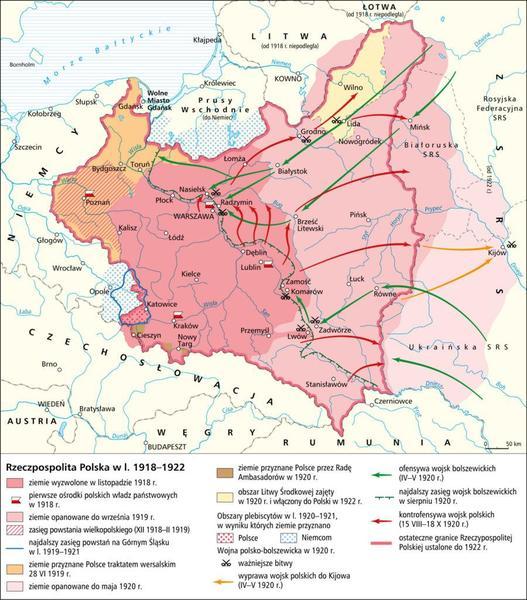 Mapa Polski w okresie kształtowania granic