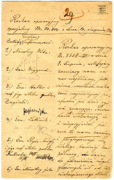 Rozkaz operacyjny nr 10 000 odnośnie Bitwy Warszawskiej z 10 sierpnia 1920 r. pisany ręką gen. Rozwadowskiego na polecenie J. Piłsudskiego z podpisami wszystkich dowodców i szkicami