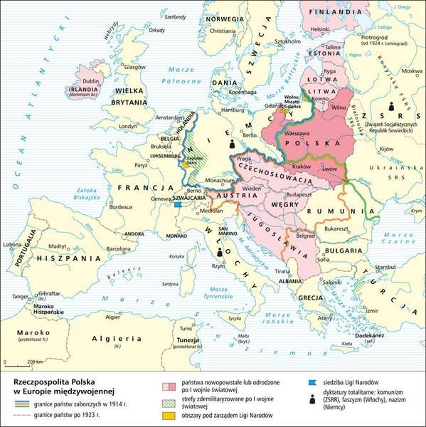 Mapa Europy po I wojnie światowej