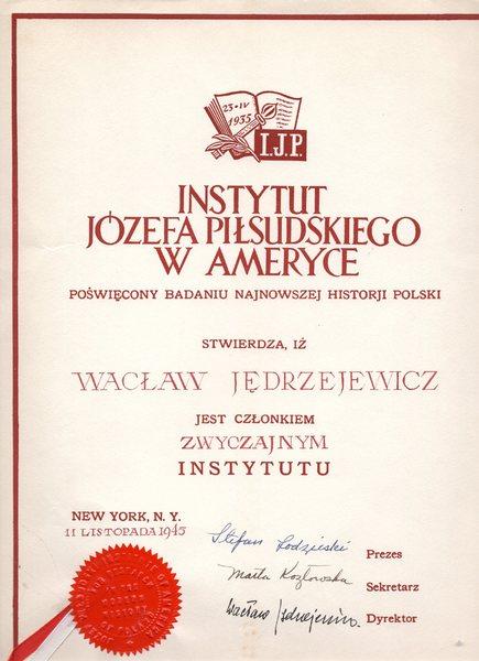 Dyplom dla Wacława Jędrzejewicza, 11 listopada 1945 r.