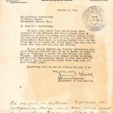 List z Amerykańskiego Czerwonego Krzyża do Stefanii Bardziłowskiej z 6 października 1923 r.