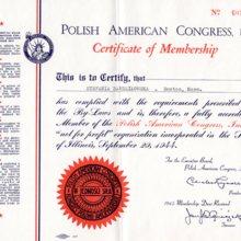 Dyplom potwierdzający członkowstwo Stefanii Bardziłowskiej w Kongresie Polonii Amerykańskiej