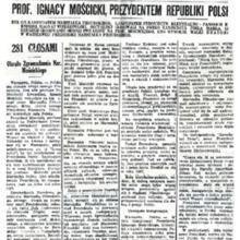Artukuł - Mościcki prezydentem