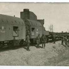 """Pociąg pancerny """"Piłsudczyk"""", używany podczas wojny polsko-boszewickiej"""