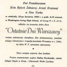 Zaproszenie na odczyt Jana Lechonia w Nowym Jorku, 23 kwietnia 1950 r.