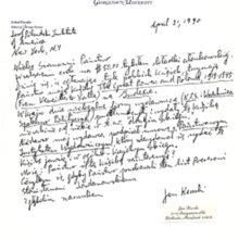 List Jana Karskiego do Instytutu Piłsudskiego w Ameryce, 21 kwietnia, 1990 r.