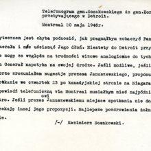 Telefonogram gen. Sosnkowskiego do gen. Bora-Komorowskiego