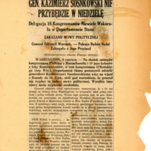 Zakaz  wyglaszania mowy politycznej   przez gen. K . Sosnkowskiego w USA