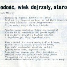 Tlumaczenie wiersza Gothego w wykonaniu K. Sosnkowskiego